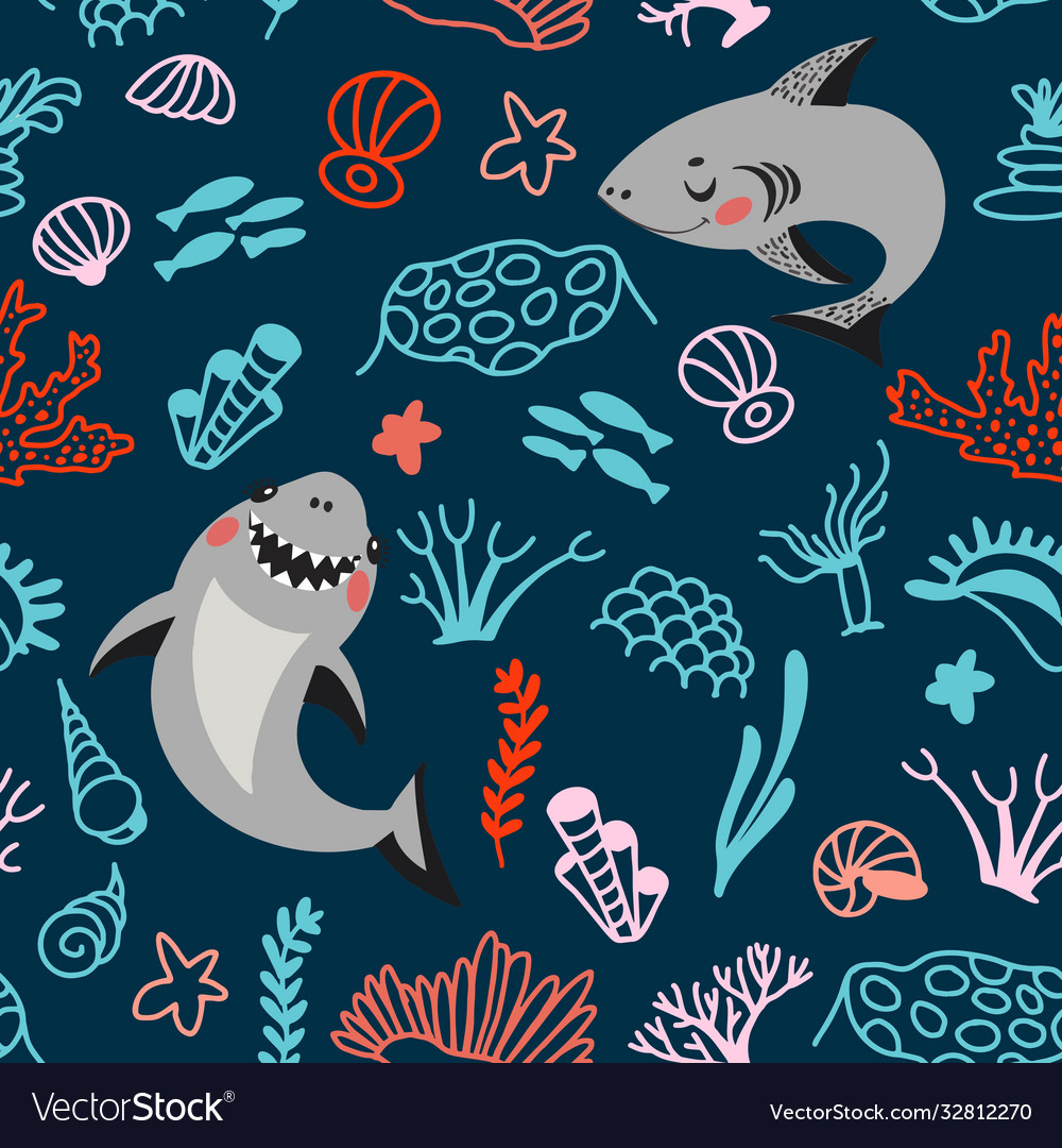 Cute cartoon style pattern with funny sharks
