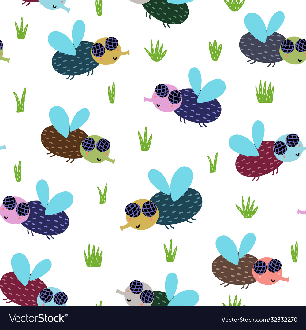 Cute fly seamless pattern nature background