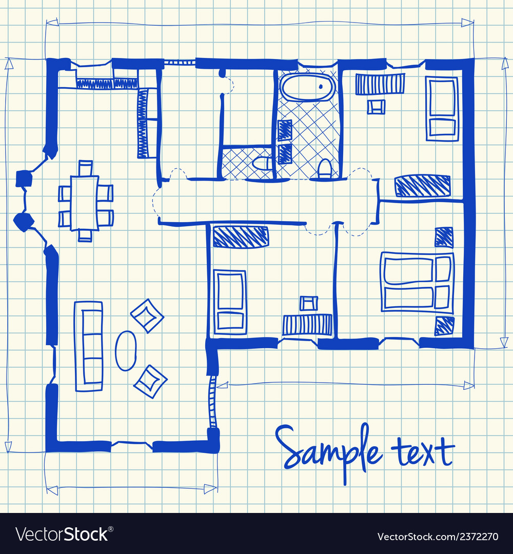 House plan doodle vector image