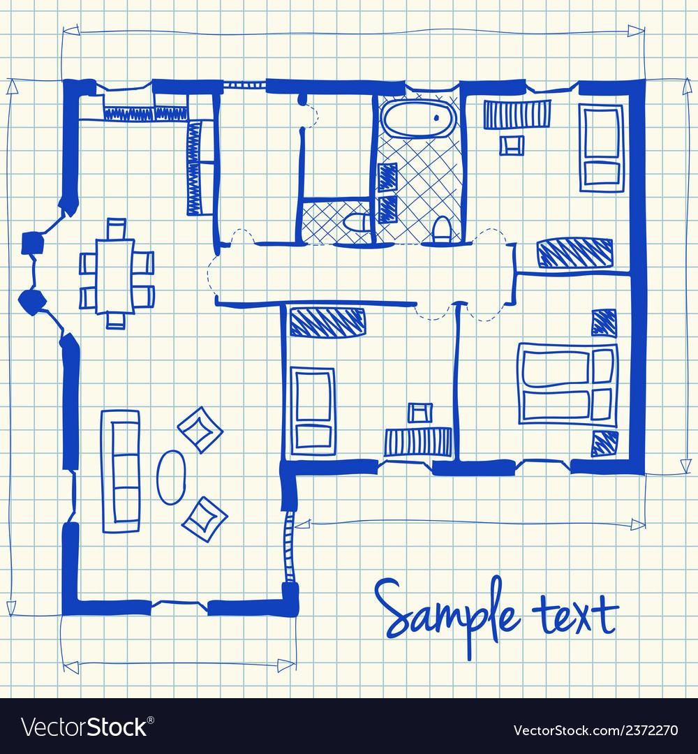 House plan doodle Royalty Free Vector Image - VectorStock