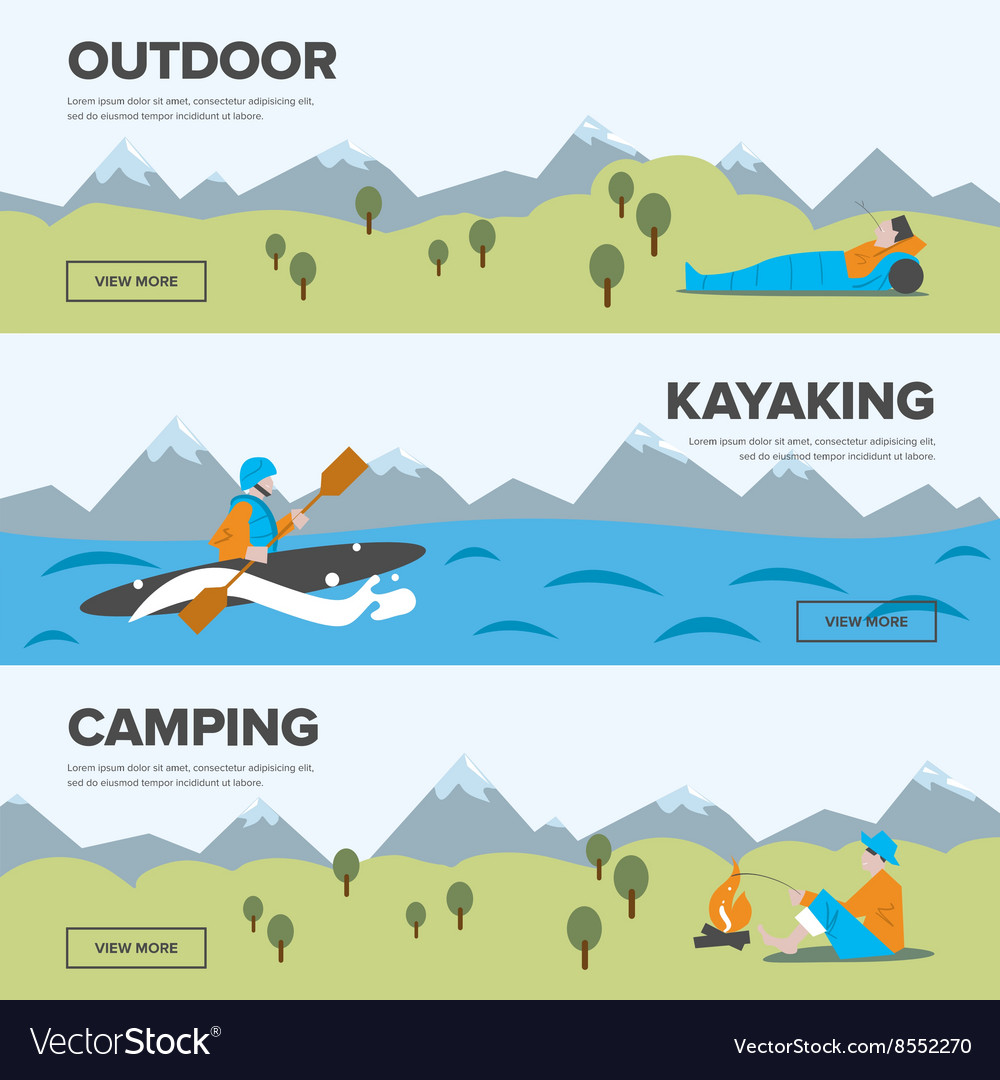 Outdoor adventure Kayaking and camping vector image