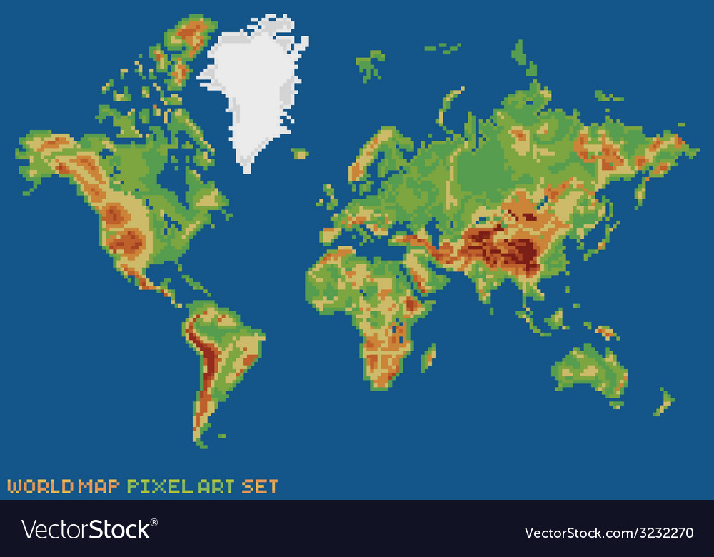 Pixel art style world physical map Royalty Free Vector Image