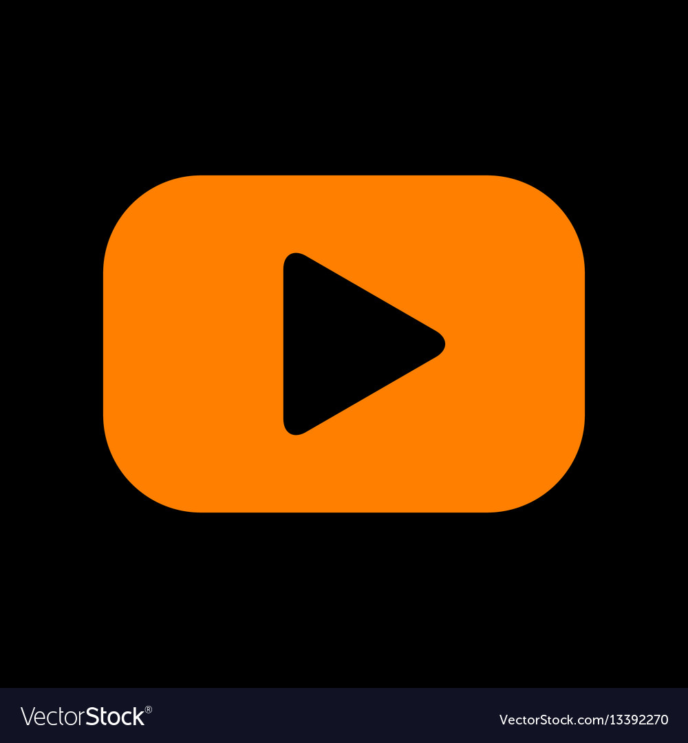 Play button sign orange icon on black background vector image