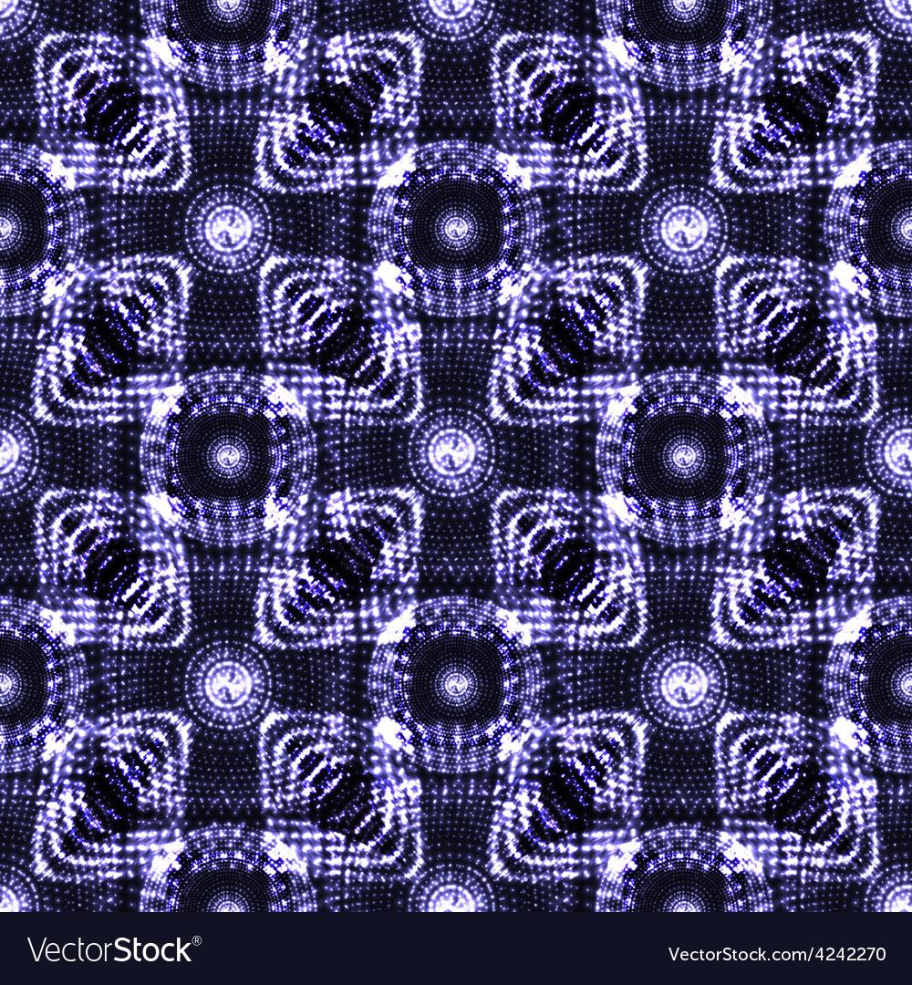 Seamless blue glowing ethnic pattern