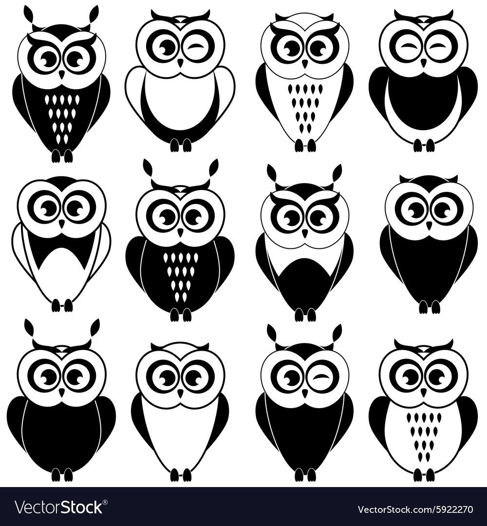 Картинки для лд черно белые совы