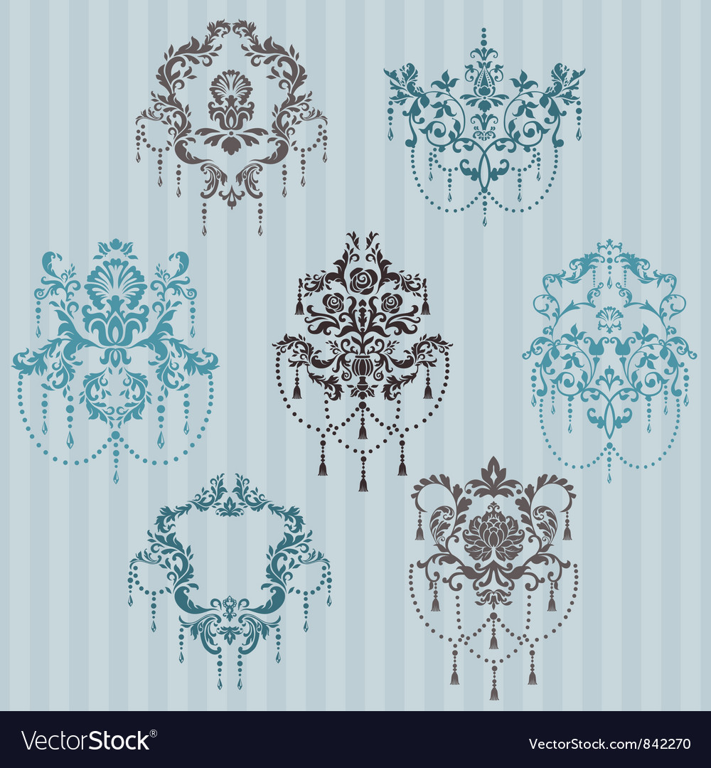Set ornamental damask