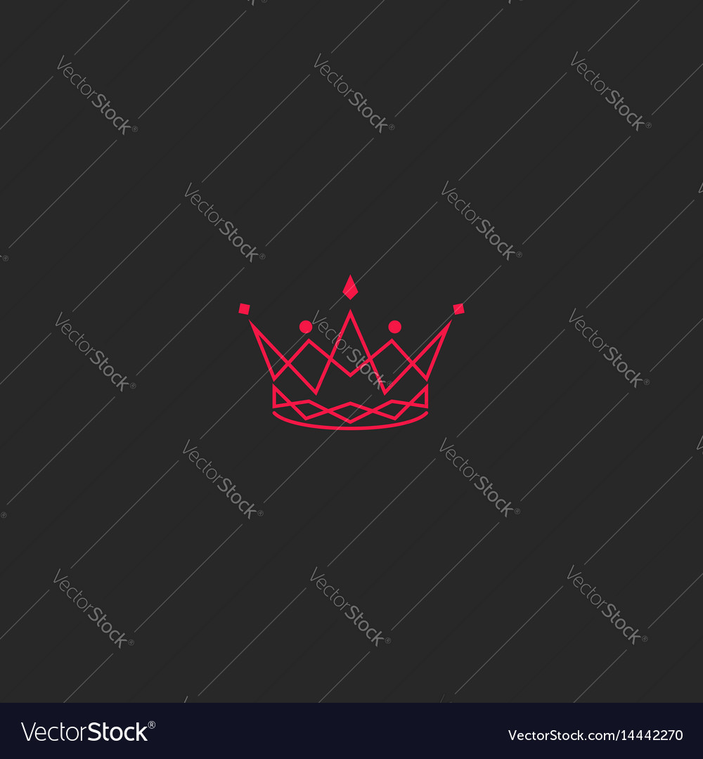 Silhouette crown logo princess tiara with gem vector image