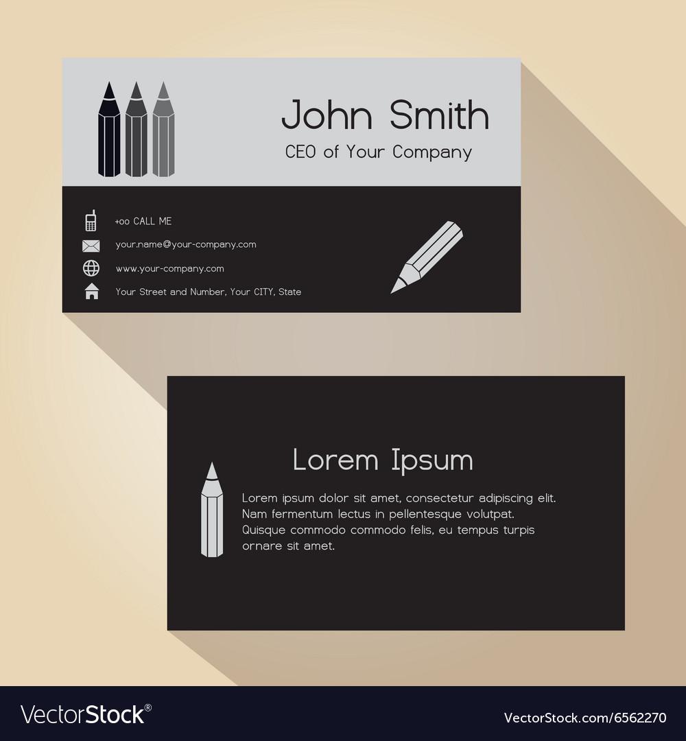 Simple half black and gray business card design vector image colourmoves