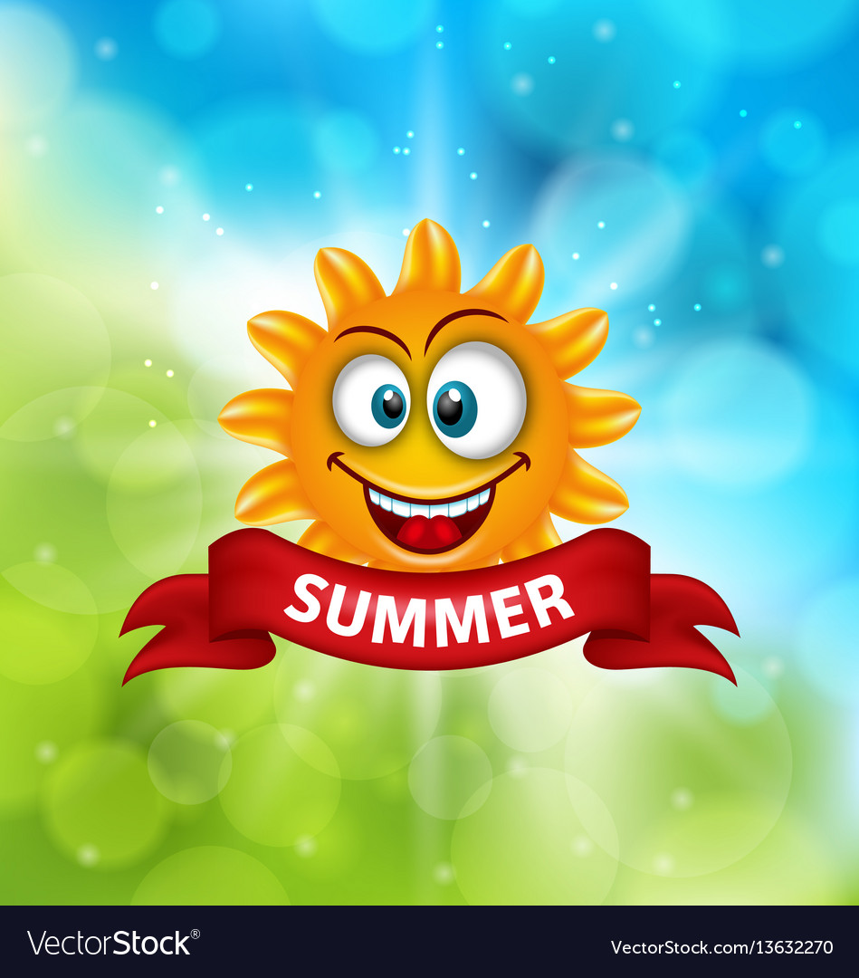 Summer background with smiling sun