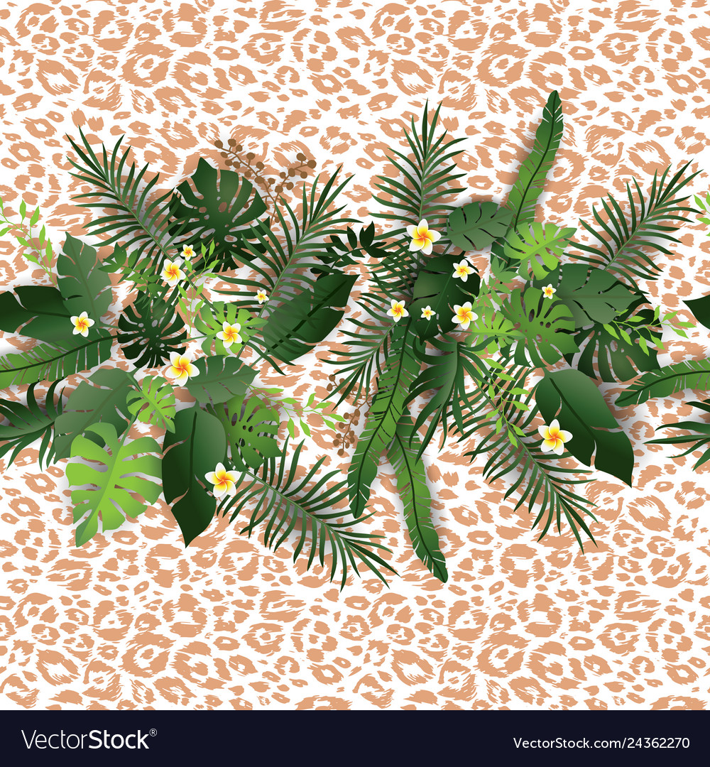 Tropical flowers and animal pattern
