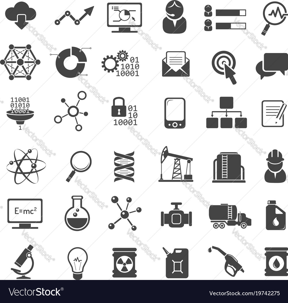 Business analytics and industry icons set