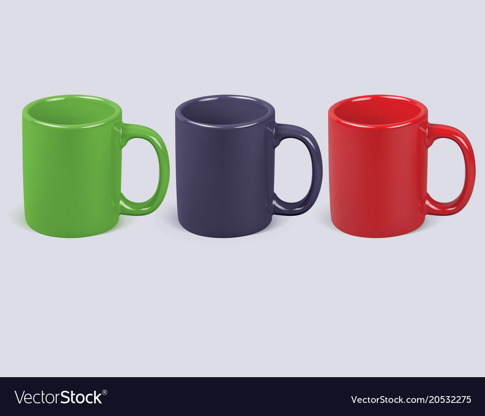 Colorful coffee cups isolated realistic 3d