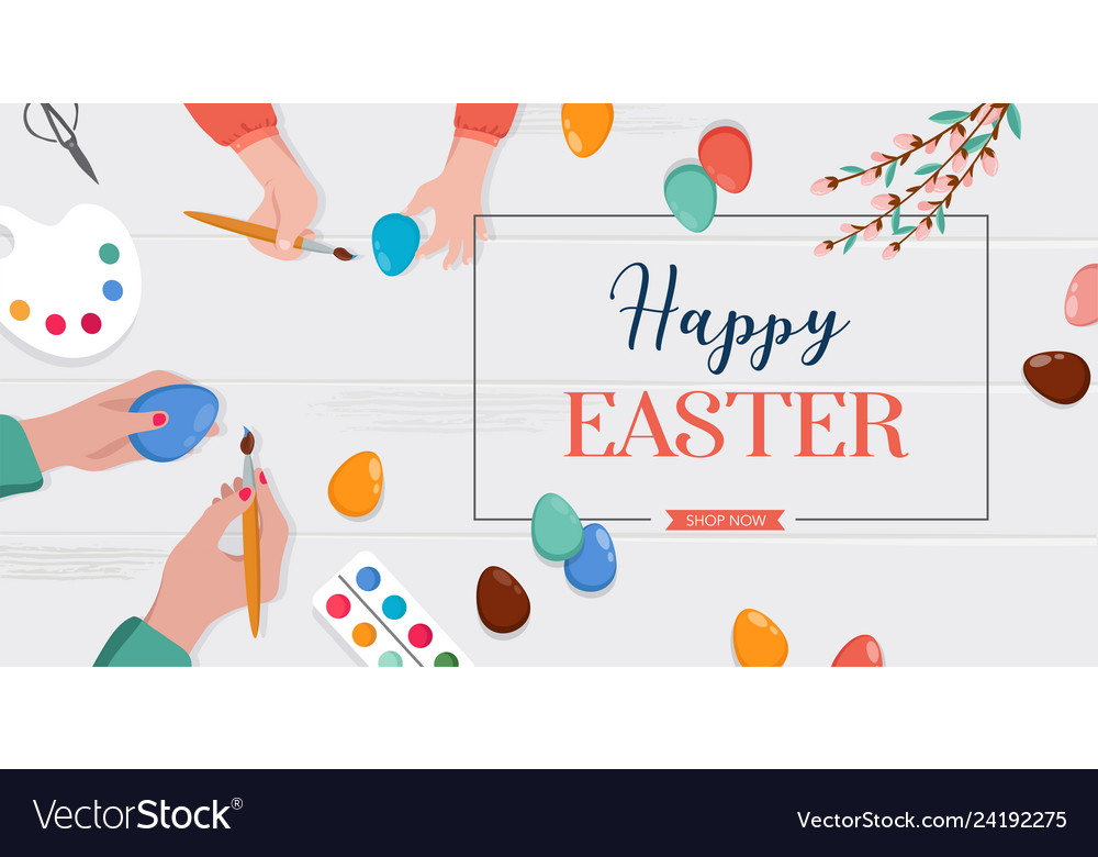 Easter scene - happy family are preparing for