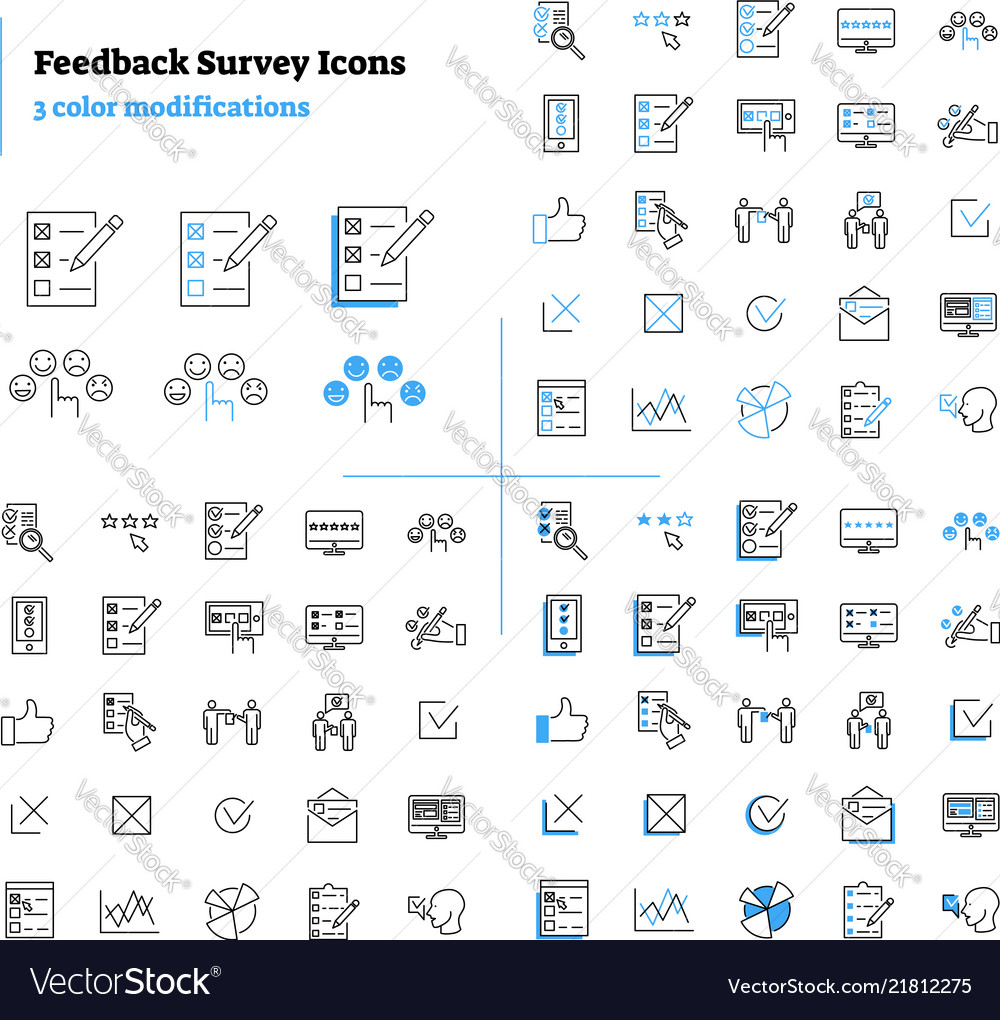 Feedback survey outline icons collection