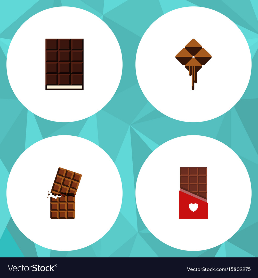 Flat icon bitter set of chocolate delicious vector image