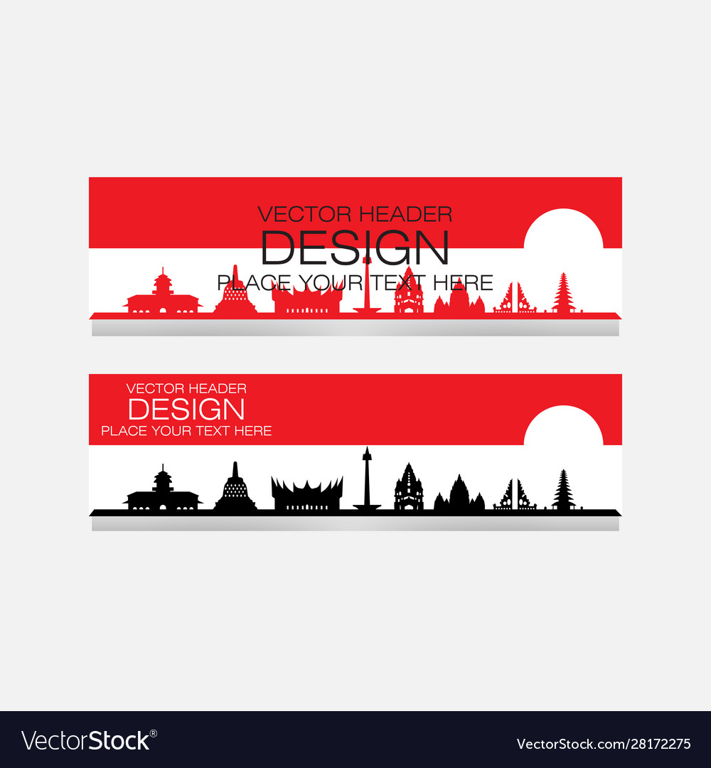 Indonesian landmark design banner web
