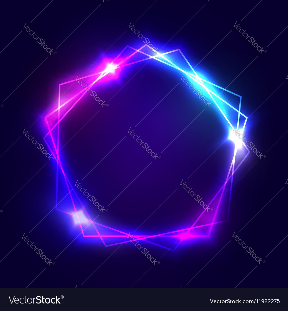 Neon sign Pentagon background with blank space