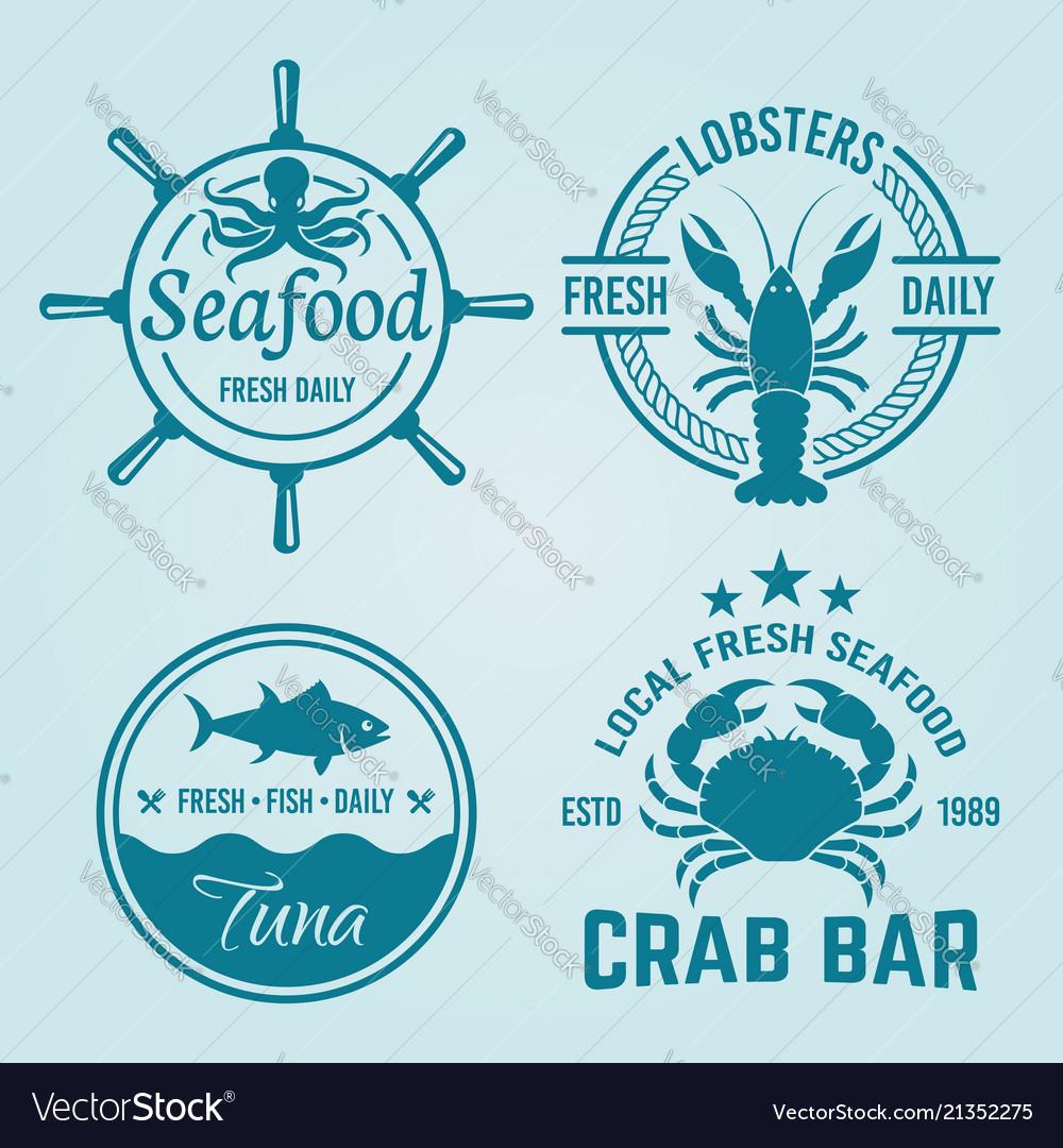 Seafood restaurant emblems or badges