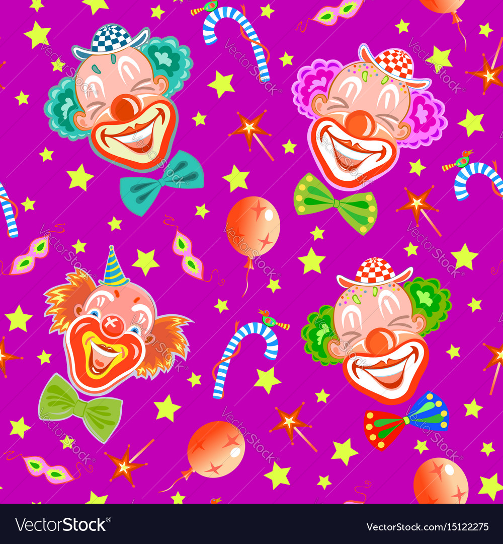 Seamless pattern with clowns on purple vector image