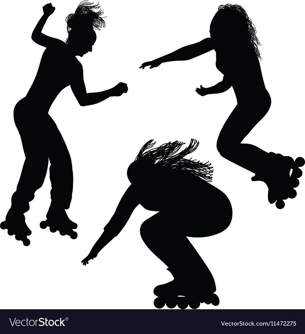Silhouette of a young woman rollerblading