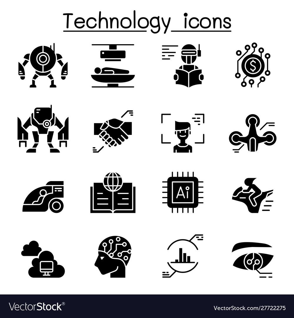 Technology icon set graphic design