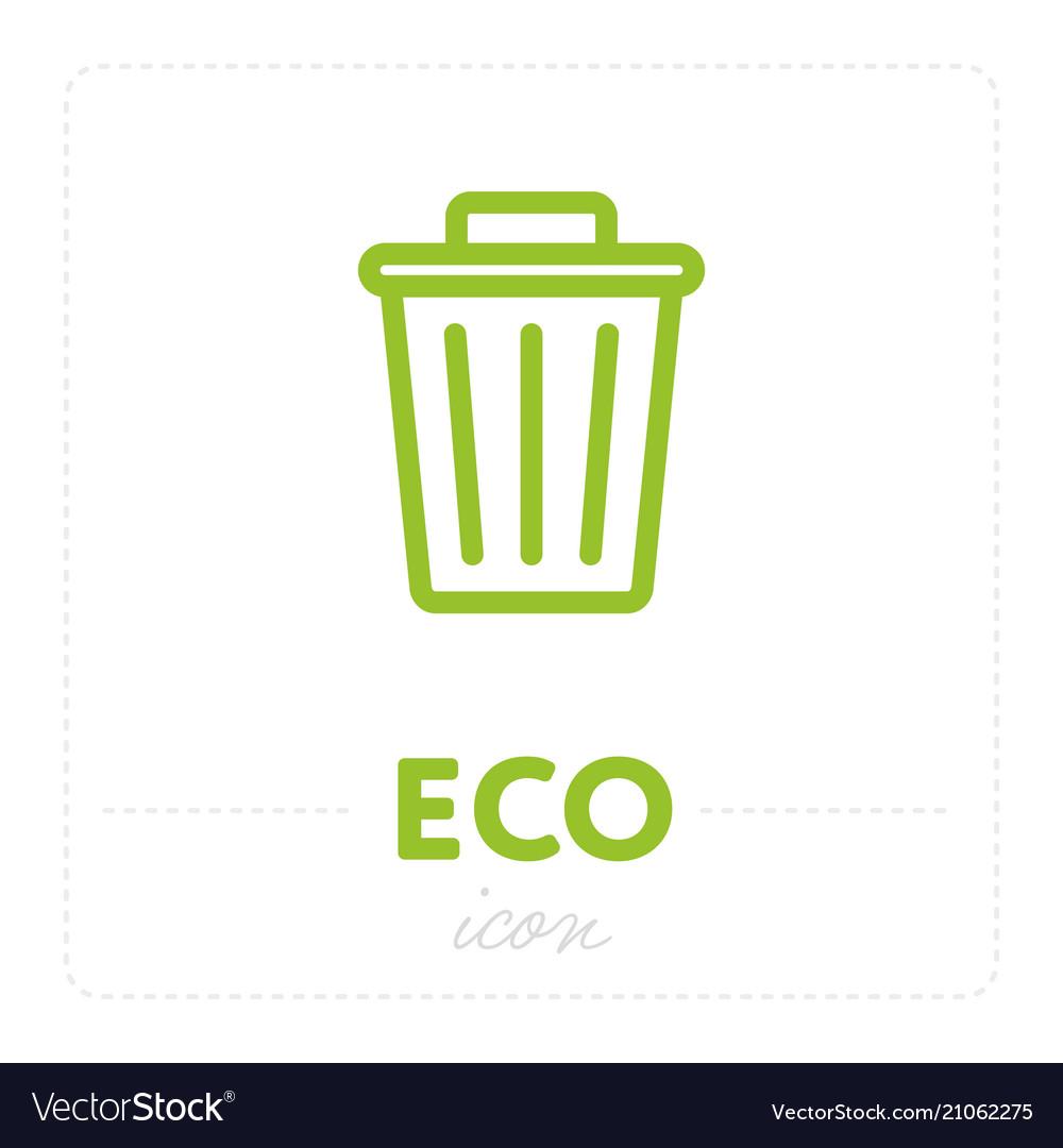 Trash can icon in eco design vector image