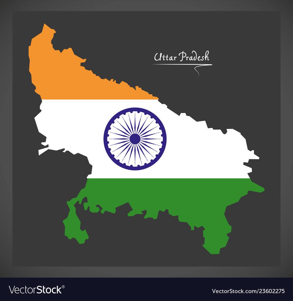 Uttar pradesh map with indian national flag