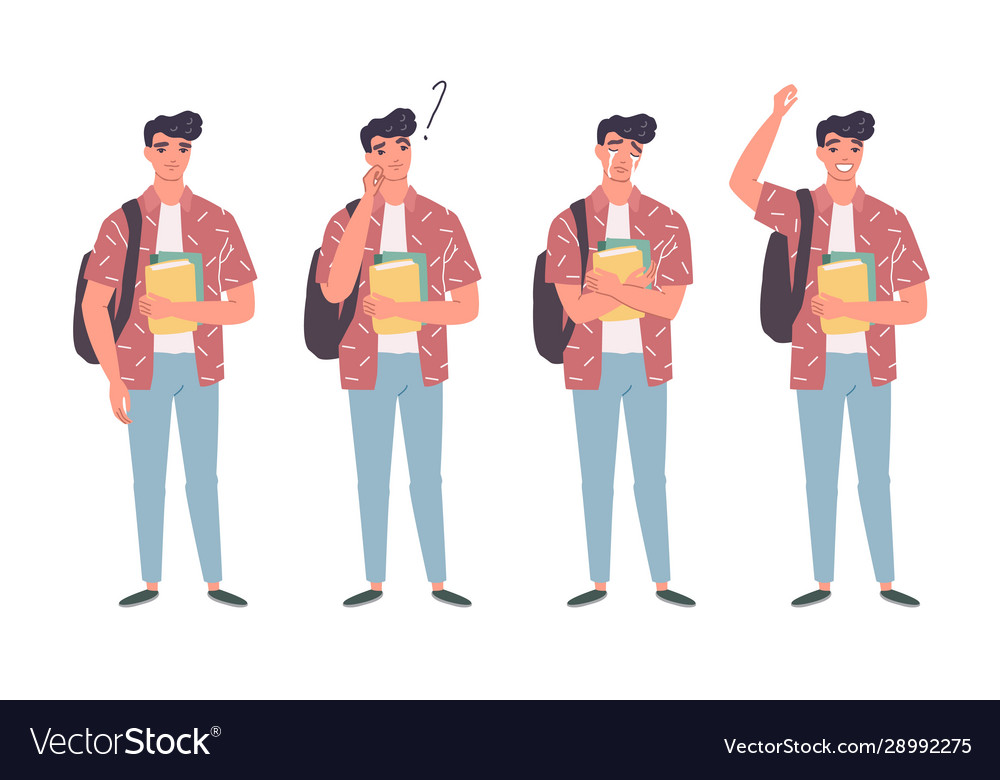 Young men in casual clothes with backbackpacks