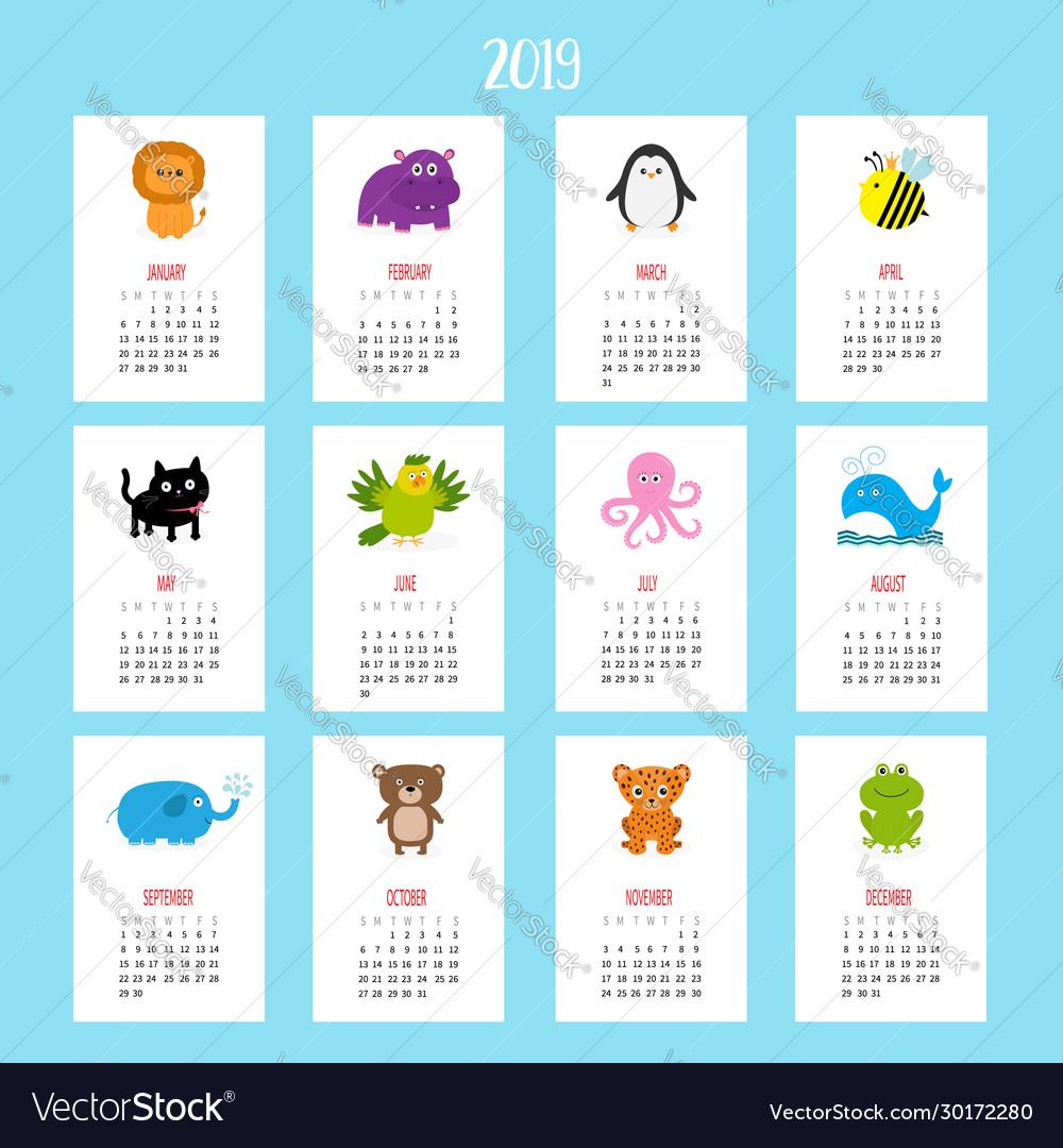 Animal vertical monthly calendar 2019 cute funny