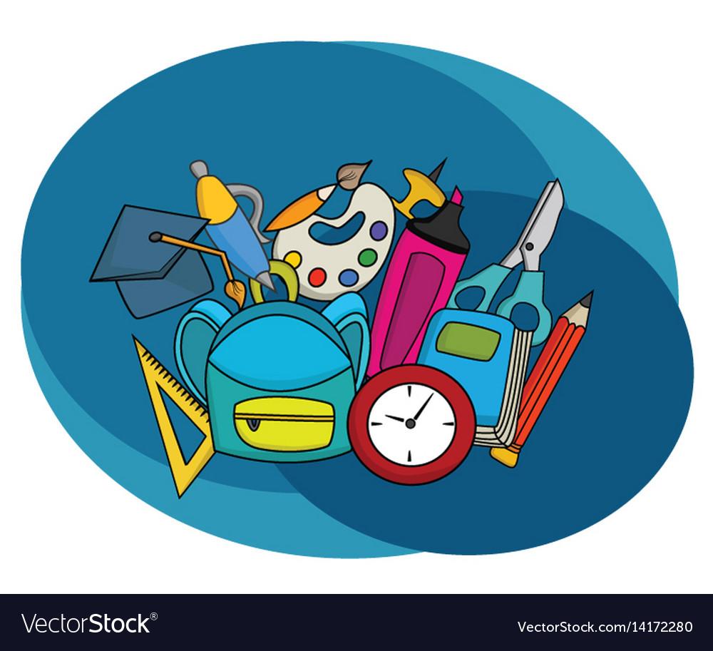 Back to school education design set vector image
