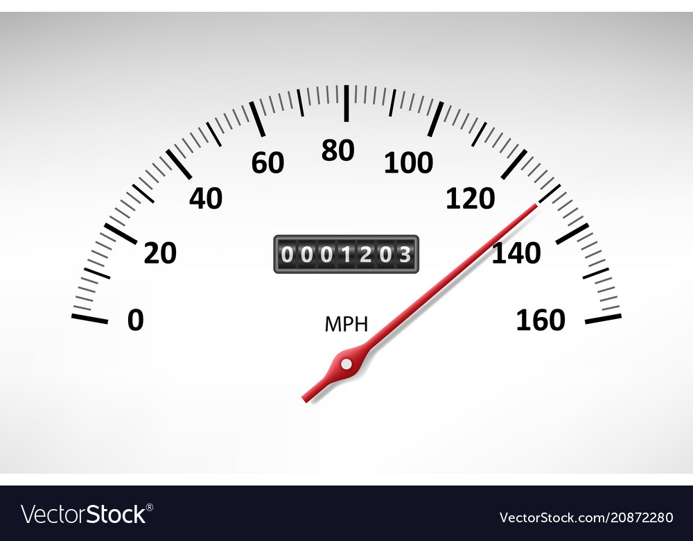 Car speedometer with speed level scale isolated on