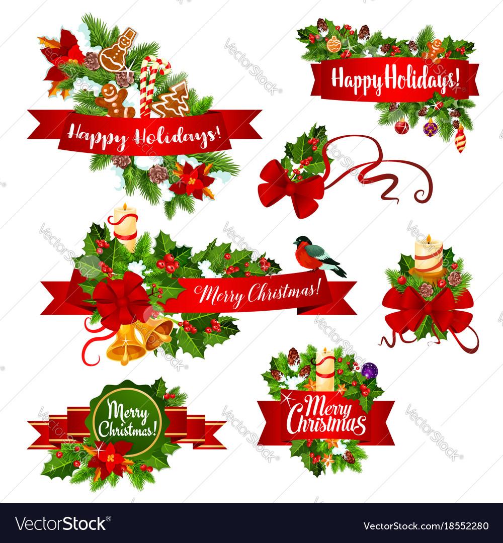 christmas or new year garland ribbon banner design vector image