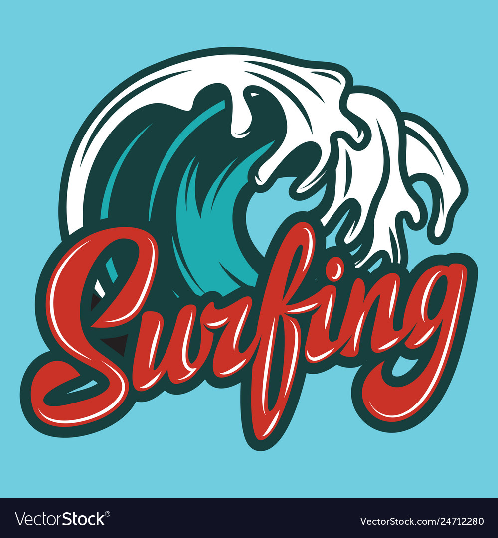 Color calligraphic inscription surfing with wave