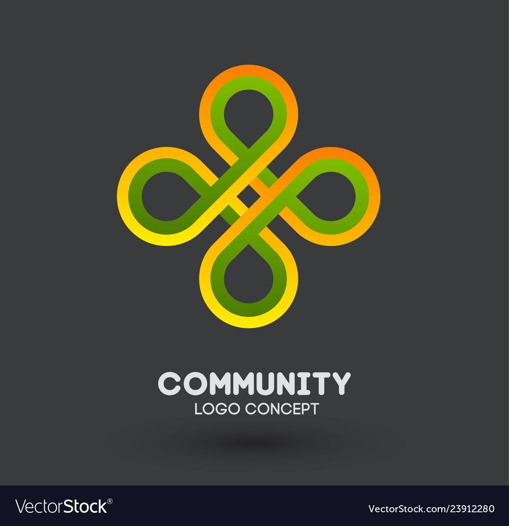 Community care logo connecting people logo design