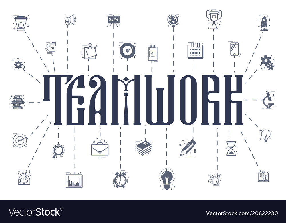 Concept a teamwork business icons linear