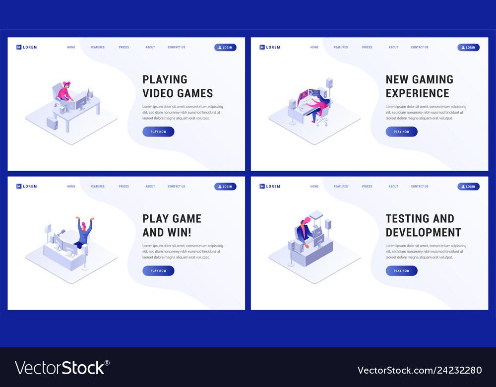 Gaming website landing page flat set