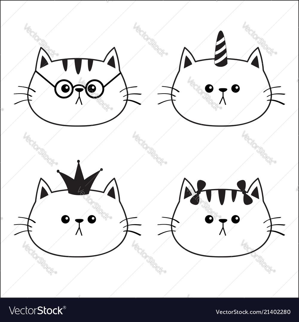 Linear cat head face silhouette icon set contour