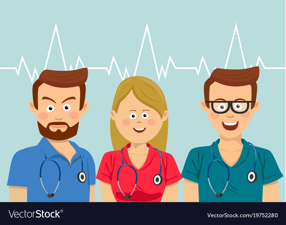Portrait of medical team wearing colorful scrubs
