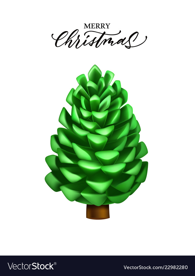 Realistic pine cone christmas new year