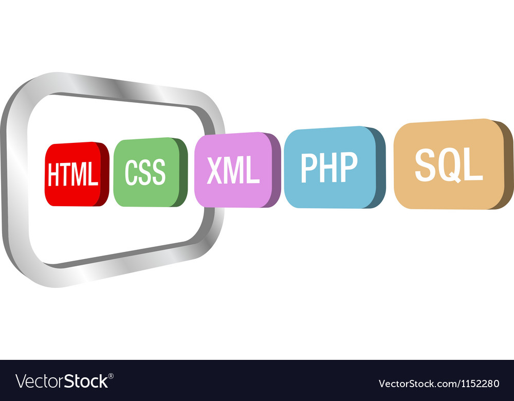 Web dev html css php into computer frame Vector Image