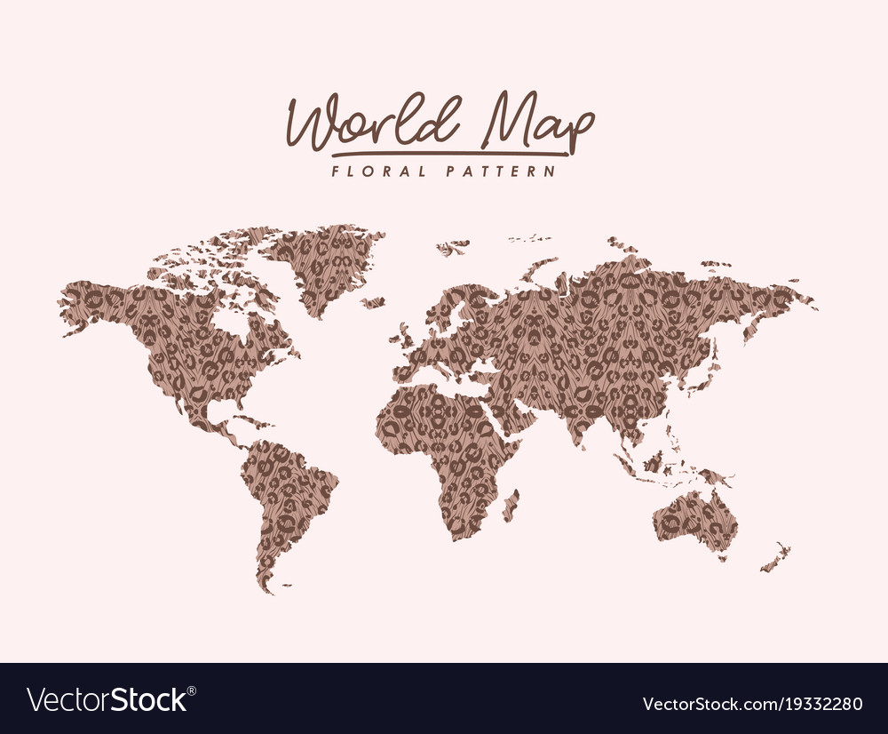 World map floral pattern stains on light pink vector image gumiabroncs Image collections