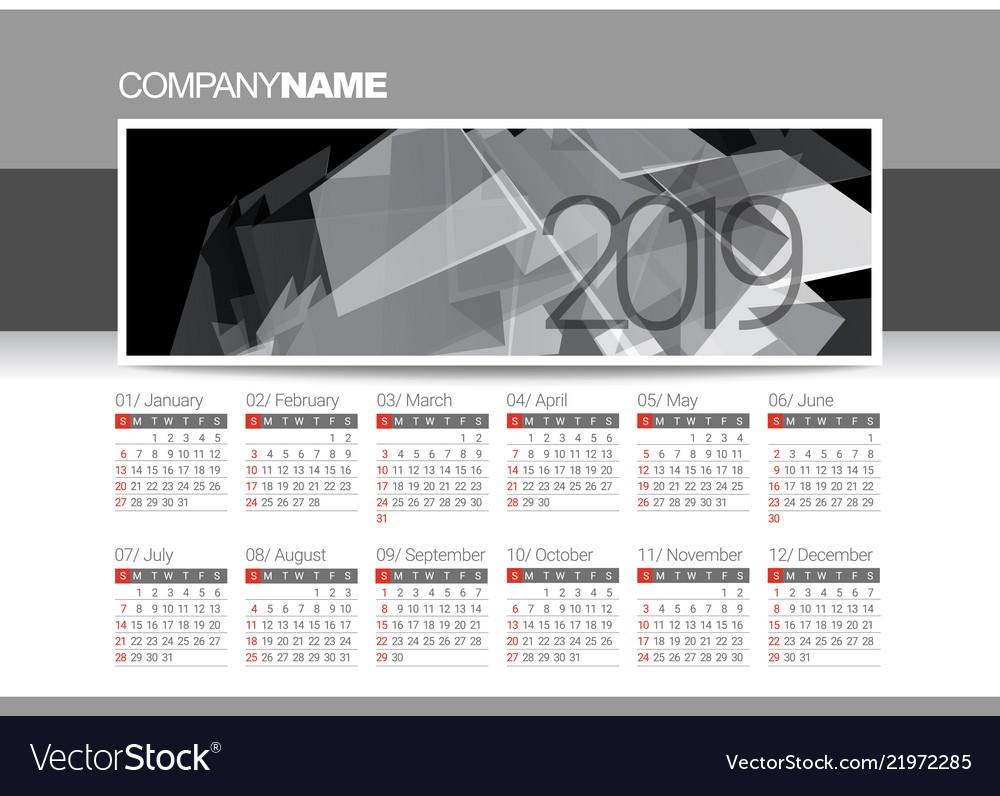 Calendar blank template for 2019 year