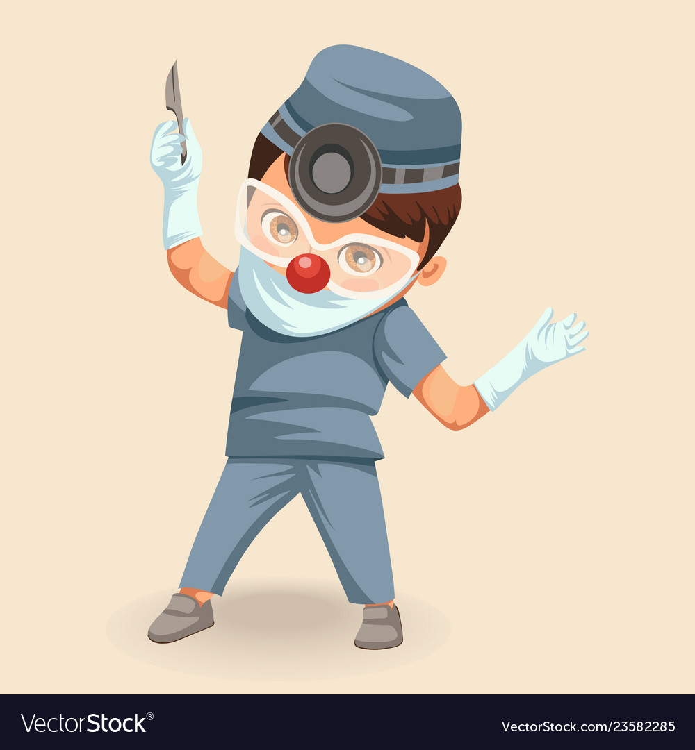 Cartoon doctor surgeon colorful poster