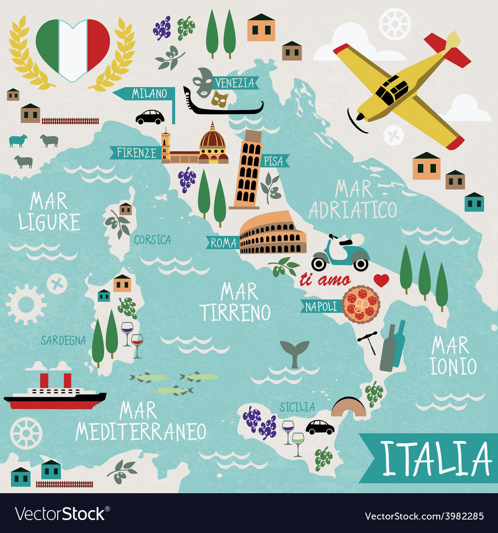 The Map Of Italy.Cartoon Map Of Italy