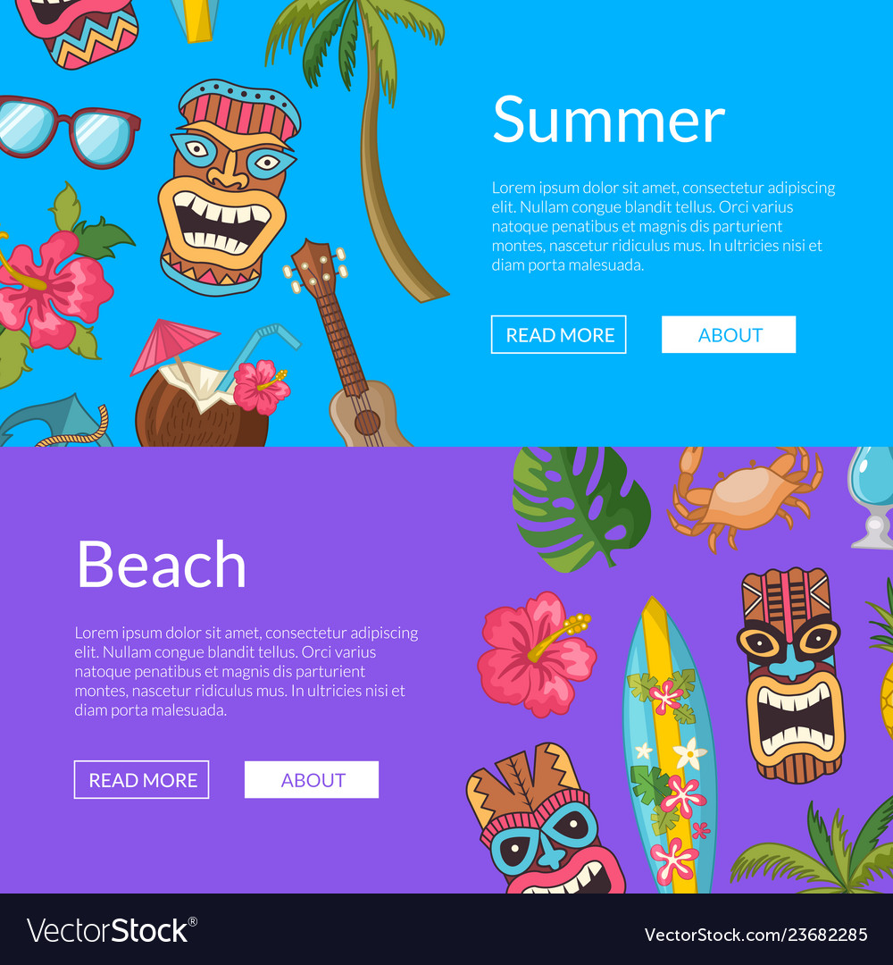 Cartoon summer travel elements web banner