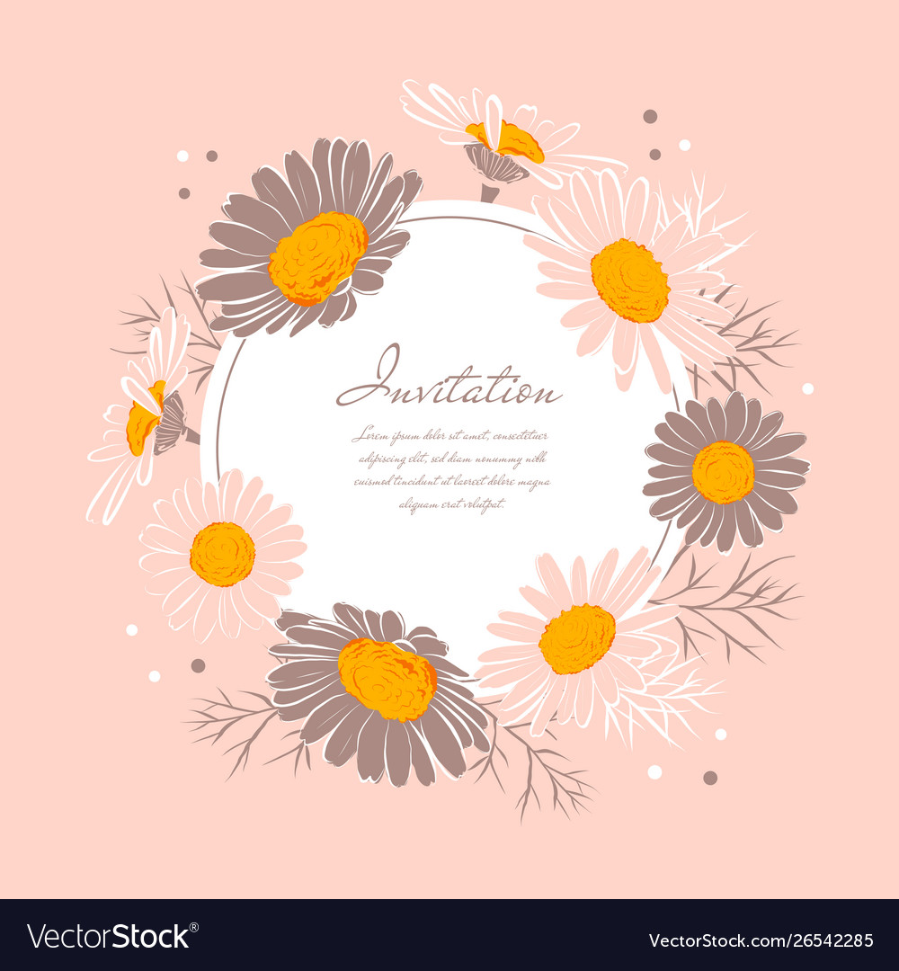 Flowers wedding invitation chamomile background