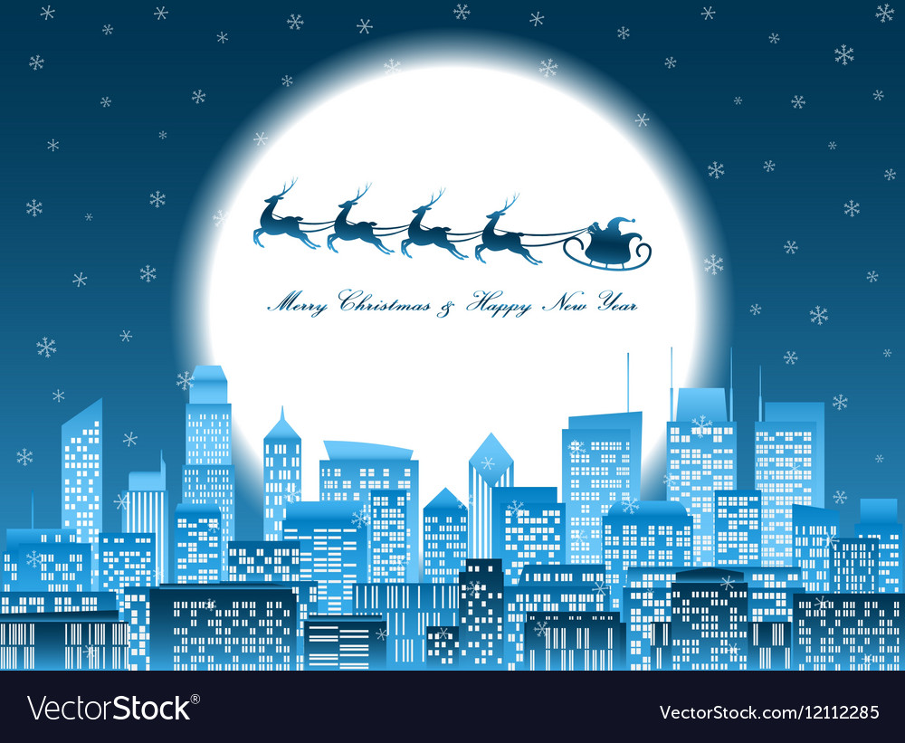 Merry christmas santa in a sledge flying over a vector image