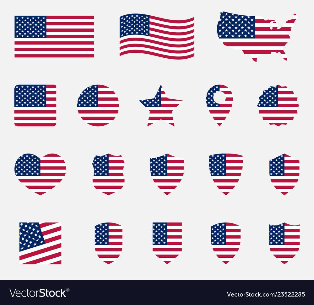 Usa flag icons set national symbol of the united