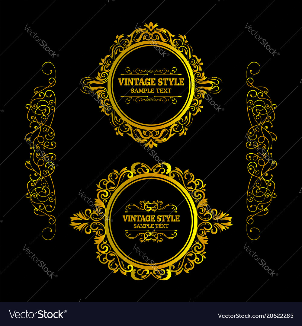 Vintage gold frame decorative hand drawn elements vector image