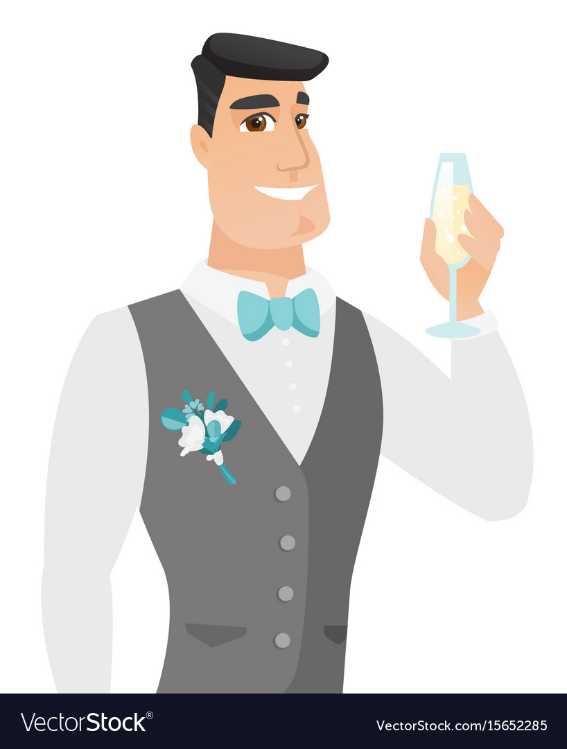 Young caucasian groom holding glass of champagne